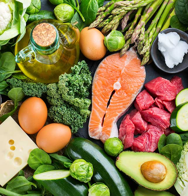 A colorful assortment of health proteins, oils, and vegetables